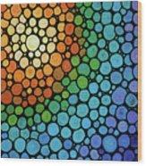Colorful Mosaic Art - Blissful Wood Print