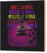Colorful Music Rock N Roll Guitar Retro Distressed T-shirt Wood Print