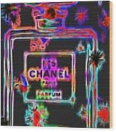 Colorful Neon Chanel Five  Wood Print