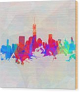 Colorful New York Skyline Wood Print