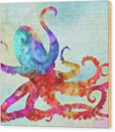Colorful Octopus Wood Print