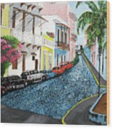 Colorful Old San Juan Wood Print by Luis F Rodriguez