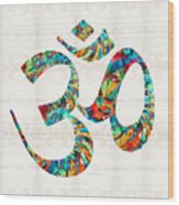 Colorful Om Symbol - Sharon Cummings Wood Print