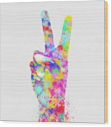 Colorful Painting Of Hand Point Two Finger Wood Print