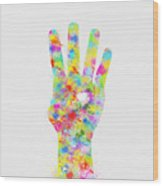 Colorful Painting Of Hand Pointing Four Finger Wood Print