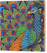 Colorful Paisley Peacock Wood Print