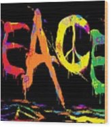 Colorful Peace Cat Wood Print