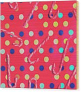 Colorful Pepermint Candy Canes Wood Print