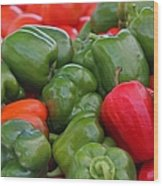 Colorful Peppers Wood Print
