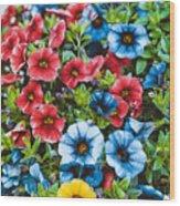 Colorful Petunias 2 Wood Print