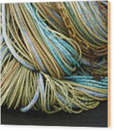 Colorful Pile Of Fishing Nets And Ropes Wood Print