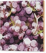 Colorful Pink Tasty Grapes In The Basket Wood Print