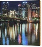 Colorful Pittsburgh Lights Wood Print