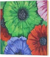 Colorful Poppy Lime Wood Print