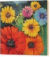 Colorful Poppy Warm No.1 Wood Print