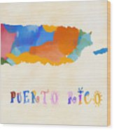 Colorful Puerto Rico Map Wood Print