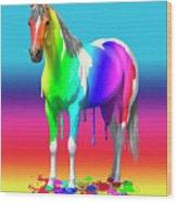 Colorful Rainbow Paint Horse Wood Print