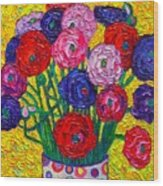 Colorful Ranunculus Flowers In Polka Dots Vase Palette Knife Oil Painting By Ana Maria Edulescu Wood Print