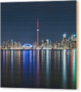 Colorful Reflections Of Toronto Wood Print