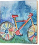 Colorful Ride- Bike Art By Linda Woods Wood Print