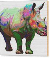 Colorful Rihno Wood Print