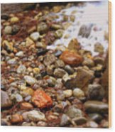 Colorful Rocks With Waterfall Wood Print