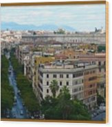 Colorful Rome Cityscape Wood Print