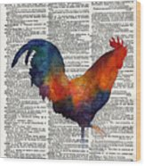 Colorful Rooster On Vintage Dictionary Wood Print