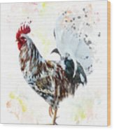 Colorful Rooster Wood Print