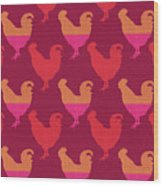 Colorful Roosters- Art By Linda Woods Wood Print