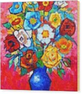 Colorful Roses And Camellias - Abstract Bouquet Of Flowers Wood Print
