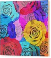 Colorful Roses Design Wood Print