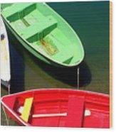 Colorful Rowboats Wood Print