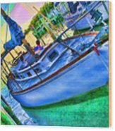 Colorful Sailboat Wood Print