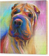 Colorful Shar Pei Dog Portrait Painting  Wood Print by Svetlana Novikova