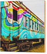 Colorful Skunk Train Passenger Car Wood Print