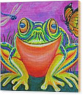 Colorful Smiling Frog-voodoo Frog Wood Print by Nick Gustafson