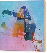 Colorful Snowboarder Paint Splatter Wood Print