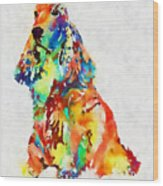 Colorful Spaniel Wood Print
