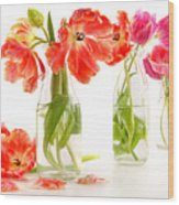 Colorful Spring Tulips In Old Milk Bottles Wood Print