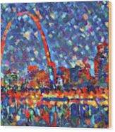 Colorful St Louis Skyline Wood Print