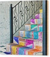 Colorful Stairs Wood Print