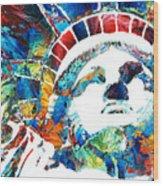 Colorful Statue Of Liberty - Sharon Cummings Wood Print