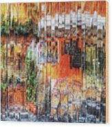Colorful Street Cafe Wood Print