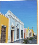 Colorful Street In Campeche, Mexico Wood Print