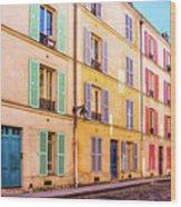 Colorful Street In Paris Wood Print