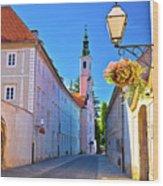 Colorful Street Of Baroque Town Varazdin  Wood Print