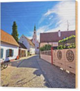 Colorful Street Of Baroque Town Varazdin View Wood Print