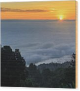 Colorful Sunrise Above The Clouds Wood Print