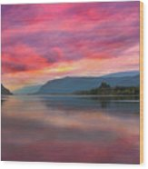 Colorful Sunrise At Columbia River Gorge Wood Print